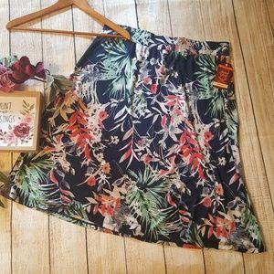 Navy Floral Knit Midi Skirt Long Modest